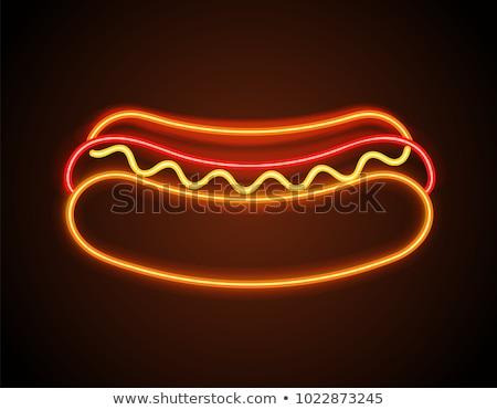 Hot dog neonreklám kávézó promóció étel háttér Stock fotó © Anna_leni