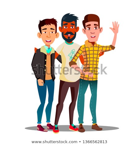 Brotherhood, Multiethnic Male Friends Vector Cartoon Characters Stok fotoğraf © pikepicture