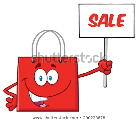 red shopping bag cartoon character holding up a blank sign stock photo © hittoon
