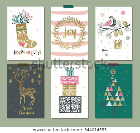 Christmas geschenk krans sneeuw winter Stockfoto © dolgachov