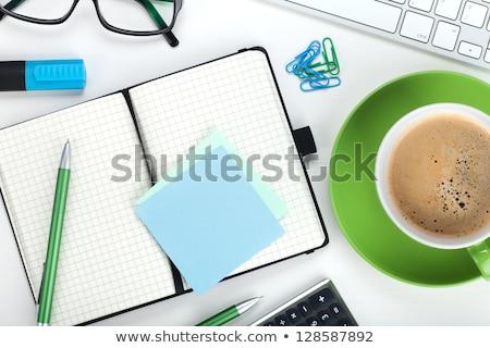 irodaszerek · billentyűzet · számológép · izolált · fehér · üzlet - stock fotó © karandaev