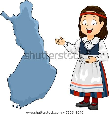 子供 少女 地図 フィンランド 実例 着用 ストックフォト © lenm