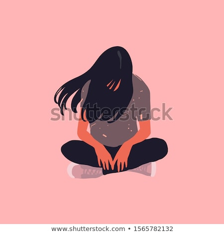 young woman sitting in pose of lotus stock photo © sonya_illustrations