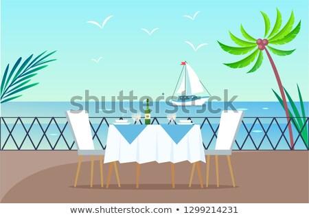 Restaurant houten pier geserveerd tabel Stockfoto © robuart
