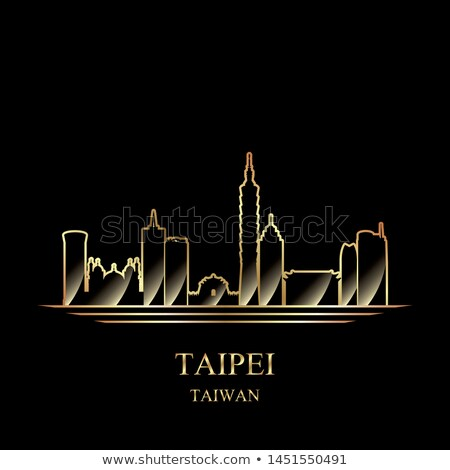 gold silhouette of taipei on black background stock photo © ray_of_light