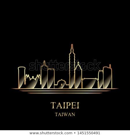 Сток-фото: золото · силуэта · черный · Skyline · архитектура · Азии