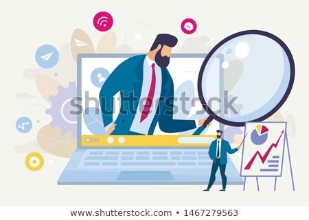 ビジネス ワーカー モニター ノートパソコン ウェブ ベクトル ストックフォト © robuart