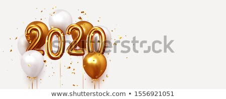 Stok fotoğraf: 2020 Helium Balloons And Confetti Banner Vector