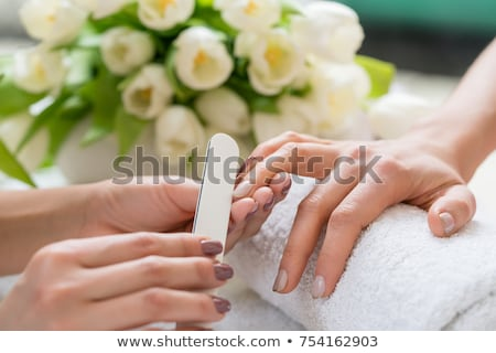 Hands of a qualified manicurist filing the nails of a young woman Stock photo © Kzenon