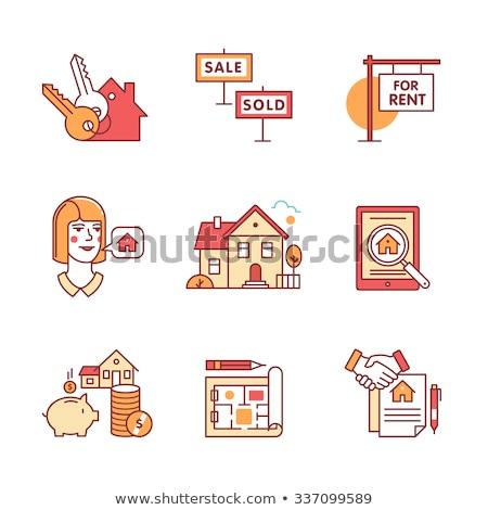 Foto stock: Tableta · inmobiliario · vendido · vector · delgado · línea