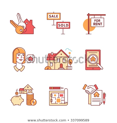 tableta · inmobiliario · vendido · vector · delgado · línea - foto stock © pikepicture