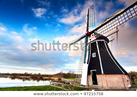 Photo stock: Moulin · à · vent · rivière · traditionnel · rangée · automne