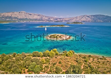 Stock photo: Island of Korcula hidden turquoise sailing bay