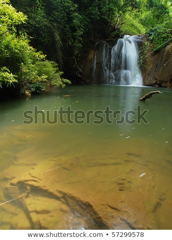 Stock photo: Smooth rocks and pond on a tropical forest background