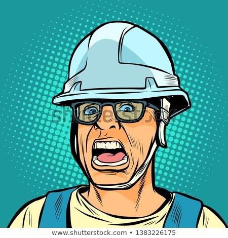 работник шлема кричали опасность испуг Поп-арт Сток-фото © studiostoks