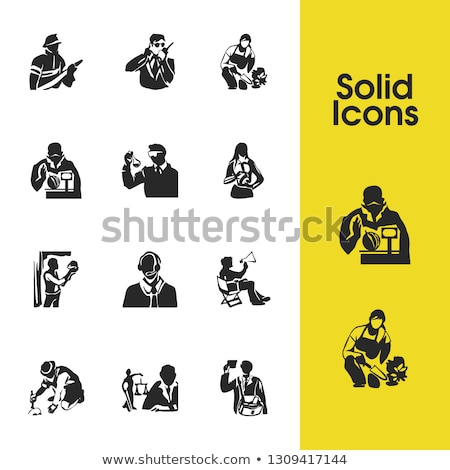 male working with headphones and icons set vector stock photo © robuart