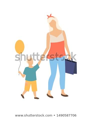 Anne çocuk geri okul yalıtılmış Stok fotoğraf © robuart
