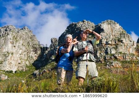 Alulról fotózva kilátás idős nő férfi mutat Stock fotó © wavebreak_media