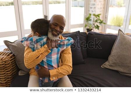 Elöl kilátás büszke afroamerikai nagyapa unoka Stock fotó © wavebreak_media