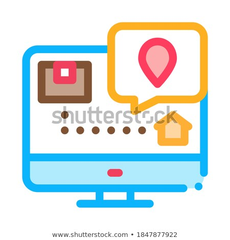 Parcel Destination Postal Transportation Company Icon Vector Illustration Stock photo © pikepicture
