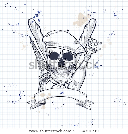 Sketch french skull with beret Stock photo © netkov1