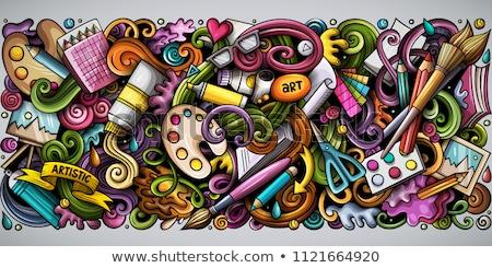 Cartoon doodles Art card. Artistic funny border Stock photo © balabolka