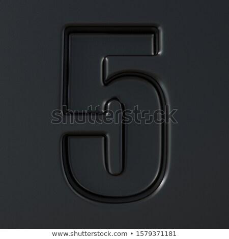 Negro grabado fuente número cinco 3D Foto stock © djmilic