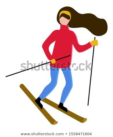 Nő hosszú haj síel hobbi barna hajú karakter Stock fotó © robuart