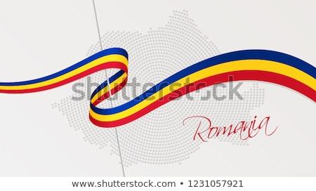 Romênia bandeira fita país símbolo azul Foto stock © tony4urban