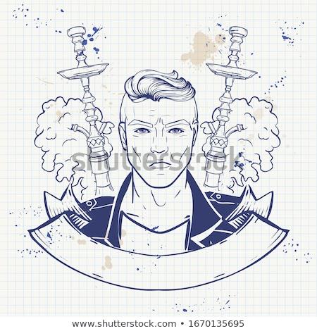 Sketch narghilè notebook sigaretta nubi Foto d'archivio © netkov1