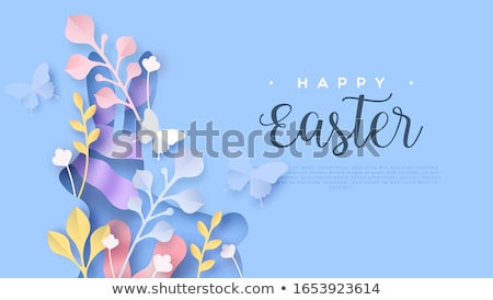Happy Easter card of paper craft spring decoration Stock photo © cienpies