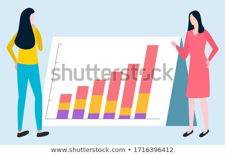 Business Report, Rising Graph, Broker Woman Vector Stock photo © robuart