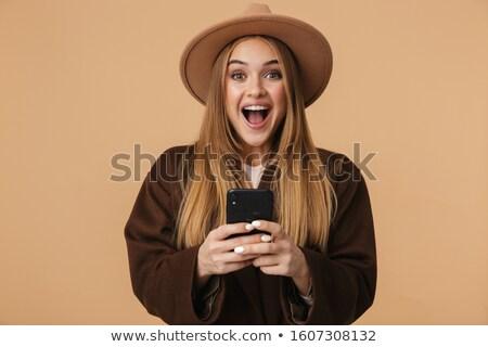 Obraz młodych optymistyczny dziewczyna hat Zdjęcia stock © deandrobot