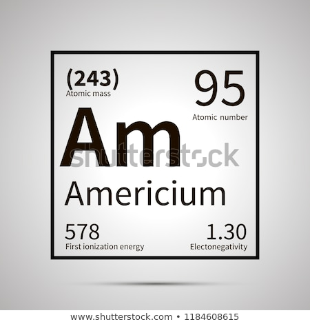 Americium chemical element with first ionization energy, atomic mass and electronegativity values ,s Stock photo © evgeny89