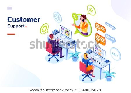 женщины · клиентов · услугами · агент · Call · Center · положительный - Сток-фото © cidepix