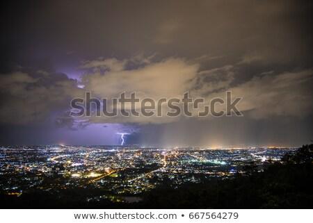 Stock fotó: éjszaka · villám · Kanada · Saskatchewan · préri · vihar