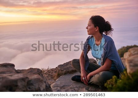 Kadın sessiz meditasyon genç güzel bir kadın yoga Stok fotoğraf © lovleah
