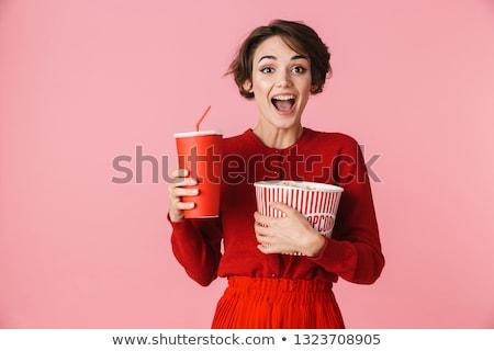 szőke · nő · szexi · nő · visel · vörös · ruha · gyönyörű · szőke · nő - stock fotó © phbcz