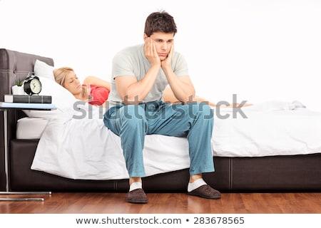 casal · adormecido · colchão · amoroso · casa - foto stock © photography33