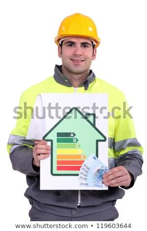 Adam para enerji verimliliği logo ışık arka plan Stok fotoğraf © photography33