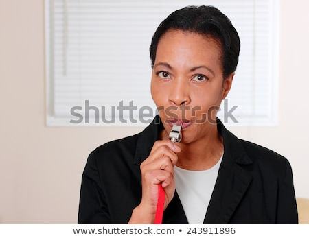 Woman blowing a whistle Stock photo © photography33