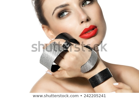 belo · risonho · mulher · jovem · batom · vermelho · beleza · compensar - foto stock © photography33