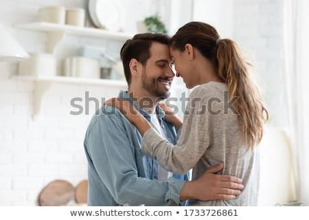 Młodych nowożeńcy miłości para kuchnia Zdjęcia stock © photography33