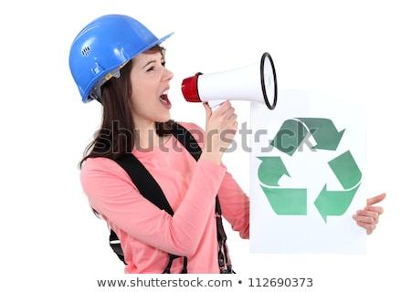 Nő promótál újrahasznosítás építkezés munkás beszél Stock fotó © photography33