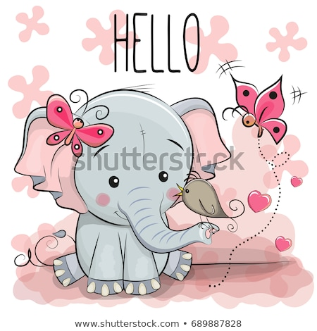 Stockfoto: Elephant With Hearts And Butterflies Vector