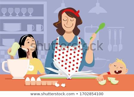 feliz · mujer · comer · cereales · desayuno · cocina - foto stock © photography33