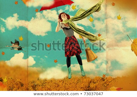 Beautiful young woman with umbrella, collage Stock photo © photography33