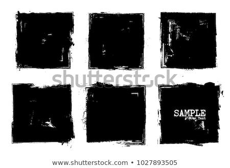 Boyalı kareler siyah beyaz doku soyut siyah Stok fotoğraf © grivet