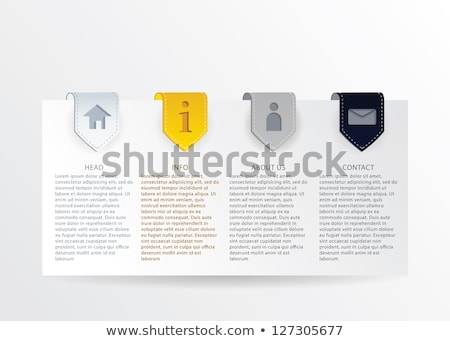 Vector gold progress card with gold ribbon marks and simple web  Stock photo © vitek38