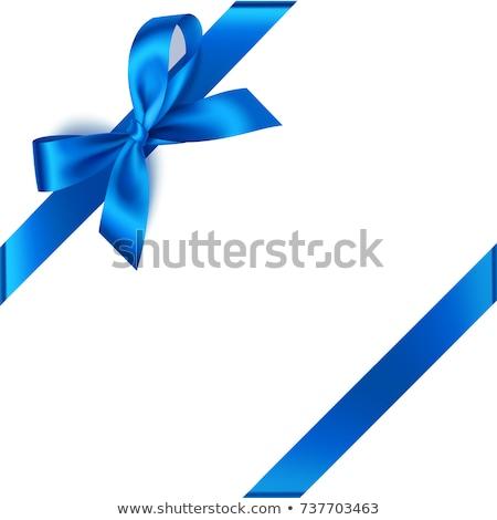Mavi şerit yay yalıtılmış beyaz çapraz Stok fotoğraf © maisicon
